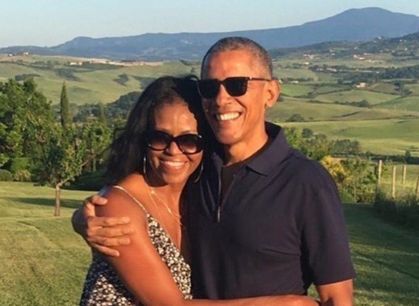 Barack and Michelle Obama celebrate their Oscar win