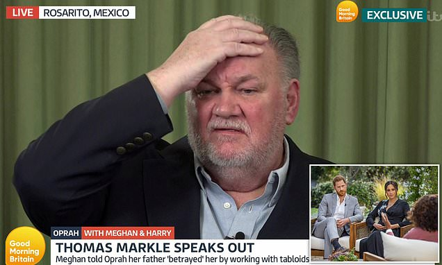 Meghan Markle's estranged father Thomas today hit back at her claims he had 'betrayed'